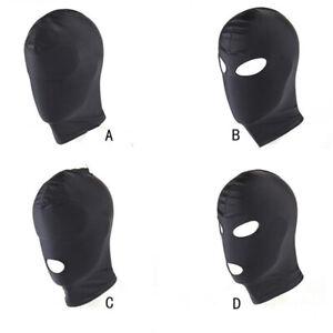 Fetish Open Mouth Hood Slave Face Mask Head Bondage Adult Cosplay Gimp Mask UK