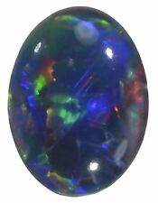 VERY UNUSUAL 10x8mm OVAL CABOCHON-CUT BLACK OPAL TRIPLET GEMSTONE