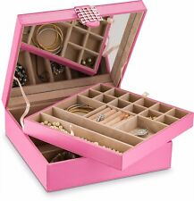 Jewelry Box Organizer for Women 28 Slot Large Holder for Necklace Bracelet Pink