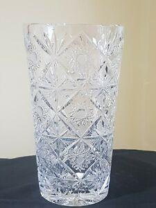 Large Heavy Bohemian Czech star cut lead crystal glass vase