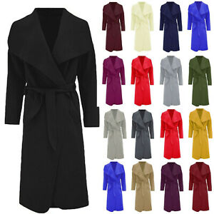 Women's Belted Duster Jacket Drape Long Coat Ladies Waterfall Italian Trench