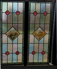 Stained Glass Panels With Hand-Painted Castles Scenes x 2