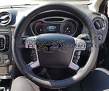 FITS FORD MONDEO MK4 2007-13 TRUE LEATHER STEERING WHEEL COVER DOUBLE STITCHING