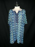 MAGGIE BARNES CATHERINES Plus Size 4X Blouse Shirt Top Blue Crinkle Short Sleeve