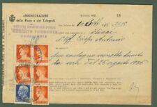 MULTA (mod 162 delle poste) del 1936. Assolta con lire 1,25 e cinque pezzi ....