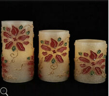 3pc Poinsettia Embossed Flameless Candles Valerie POINSETTIA Christmas Lighted