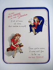 "Vintage WWII ""To My Boyfriend In The Service"" Card w/ Girl Dressed In Red *"