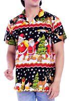 Christmas Hawaiian Shirts for Men Santa Claus Beach Vacation Shirt