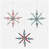 Set/3 Snowflake Beaded Starburst Christmas Tree Ornaments Retro Vntg Style Decor
