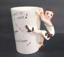 Vtg Roaring 20's Figural Handle Ceramic Mug Charleston Dancer St Louis Missouri