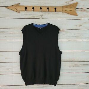 Davis & Squire | Mens Black Extra Fine Merino Wool Vest Size XXL