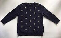 Women's Talbots Navy Blue Embellished Beaded 3/4 Sleeve Sweater-Size L