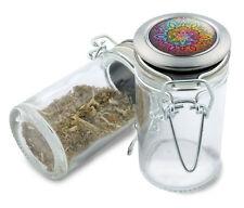 Rainbow Mandala Wire Top Glass Stash Herb Jar w/ Air Tight Seal Flip Yoga Zen