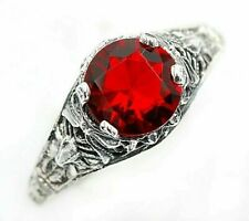1CT Ruby 925 Solid Sterling Silver Nouveau Style Ring Jewelry Sz 8, OE5