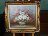 Lovely Vintage Still Life Flowers Oil Painting On Canvas Signed C. Johnson