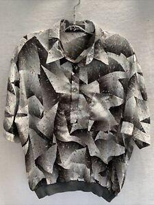 Alan Stuart Shiny Metallic Geometric Banded Waist Shirt~Lrg~