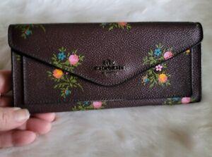 Coach Brown Multi Floral Coated Canvas Gunmetal Envelope Wallet