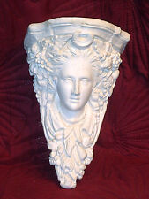 "VERY ORNATE VINTAGE WALL HANGING FRENCH PLASTER CAST BUST / SHELF 11"" TALL"