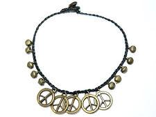Ladies Bell Bead Peace Sign Ankle Bracelet Foot Anklet Hippy Boho Handmade Girls