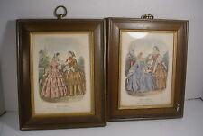 2 Vintage Framed French Fashion Prints Miroir des Modes