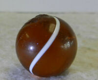 #12796m Very Nice Vintage German Amber Glass Swirl Marble .67 In Inner Ghosting