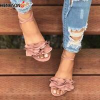 Women's Sandals Ruffles Shoes Cross Bandage Flats Lace-up Ankle Strap Sandalias
