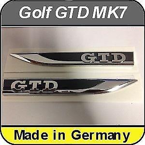 OEM VW Volkswagen Golf GTD MK 7 VII Car Wing Both Sides Decal Car Badge Emblem