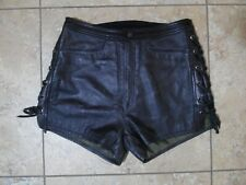 Harley Davidson Black Leather Motorcycle Biker Shorts 40/12 Meas 30x3 Lace Sides