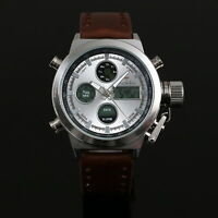 Mens Watch Quartz Brown Faux Leather Strap Analog Dual Time Luminous Luxury