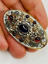 Michal Golan 24K Gold Plated Garnet And Amethyst Festive Pin / Brooch / Pendant