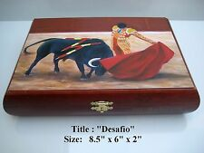 "Wooden Humidor Cigar box with ""Desafio"" Oil Painting on Top . Lowest Price ."