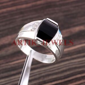 Natural Black Onyx Gemstone with 925 Sterling Silver Ring for Men's #2787