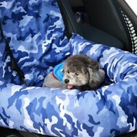 Dog Cat Car Seat Pet Car Booster Front Seat Carrier Up to 30 Lbs Blue Camouflage