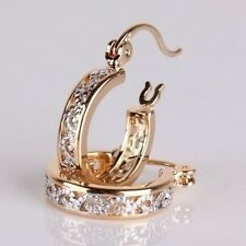 Women's 18K Yellow Gold Filled Dangle Hoop Stud Earrings Prm Party Jewelry Gifts
