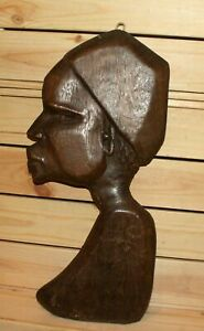 Vintage African hand carving wood tribal wall hanging plaque old man