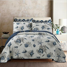 Sea Marine Patchwork Quilted Bedspread Set Queen/King Size Pillowcase Throw Rug