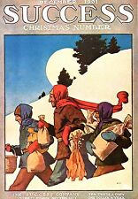 MAXFIELD PARRISH BOOK PRINT CHRISTMAS COVER SUCCESS MAGAZINE TRIO WITH GROCERIES