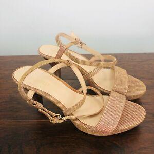 Nine West Women's Shoes Heels Rose Gold Sparkly Textile Upper Size 7 1/2