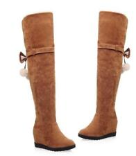 Womens Combat Knee High Boots Suede Bowknot Fashion Wedge Heel Shoes Sz35-43  tr