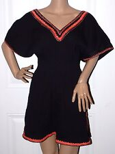 New $128 French Connection Black LongTunic Top or Beach Cover up Large