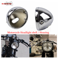 "Universal Motorcycle Chrome 7""Headlight Housing Shells For Harley Cafe Racer New"