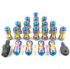 NEO CHROME M12x1.5 WHEEL RIMS TUNER STEEL EXTENDED DUST CAP LUG NUTS WITH LOCK