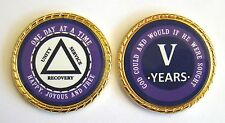 """Alcoholics Anonymous 5 Year Rope Edge Sobriety Coin Chip 1 3/4"""" - Purple/Purple"""