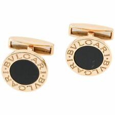 BULGARI Onyx and 18K Yellow Gold Round Cufflinks