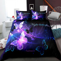 Single/Double/Queen/King Size Bed Doona/Duvet/Quilt Cover Set Butterfly Purple