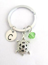 Turtle Keychain with birthstone initial Key Ring Personalized Tuurtle Key Chain