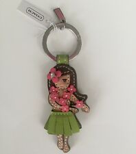 NWT Coach Pink Hawaiian Hula Girl Flower Key Ring Fob Keychain F93159