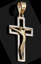 14k Oro Puro Amarillo y Blanco Dije de Cruz, Medalla con Jesucristo