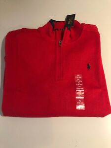 NWT NEW RALPH LAUREN POLO Boys 18 -20 XL Red 1/4 Zip Pullover Reg $60