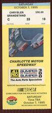 Ticket Nascar 1995 Charlotte 10/7 Auto Parts 300